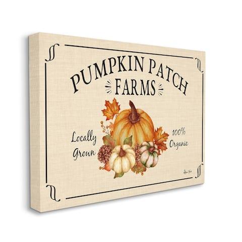 Stupell Industries Traditional Pumpkin Patch Farm Sign Tan Orange Canvas Wall Art