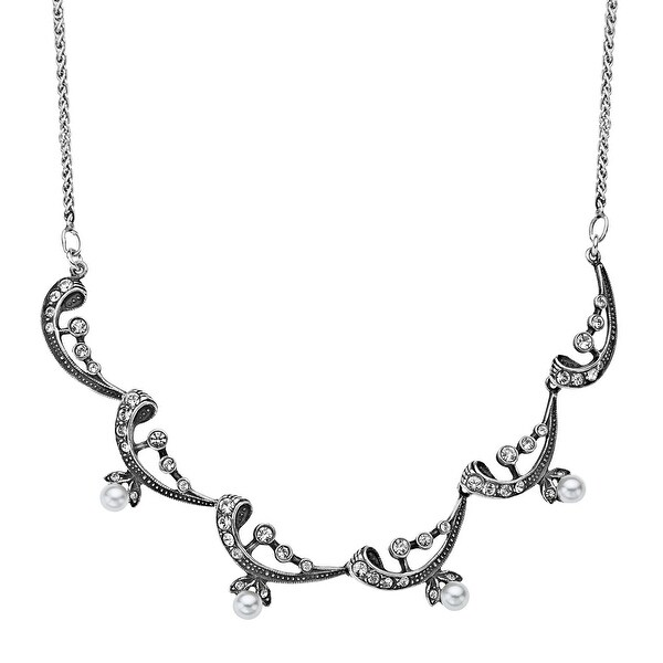 Van Kempen Victorian Simulated Pearl Necklace with Swarovski elements Crystals in Sterling Silver