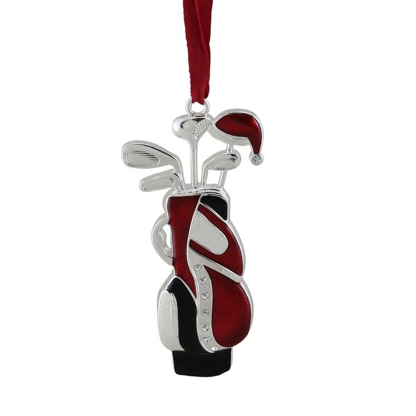 "4"" Red and White with Clear European Crystals Silver Plated Golf Bag Christmas Tree Ornament"