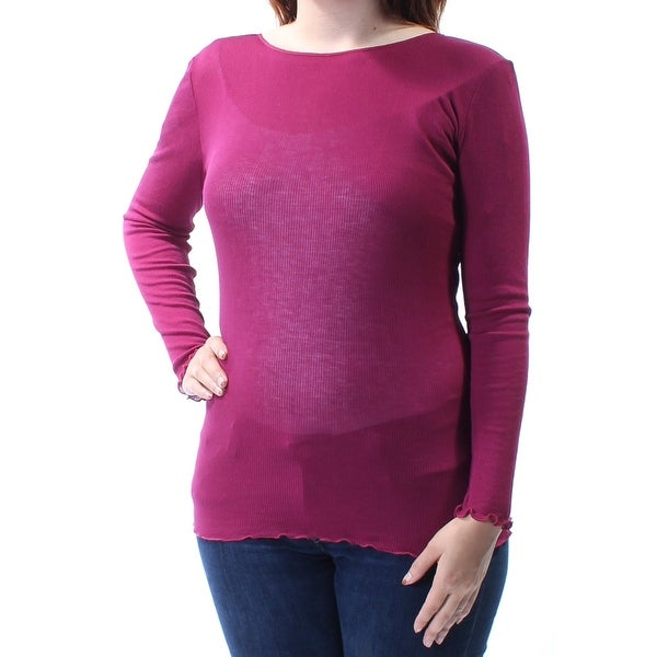e7db7258a91 Shop Womens Burgundy Long Sleeve Jewel Neck Top Size S - On Sale ...