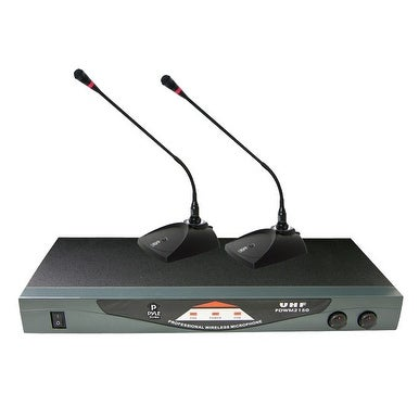 Professional Dual Table Top VHF Wireless Microphone System