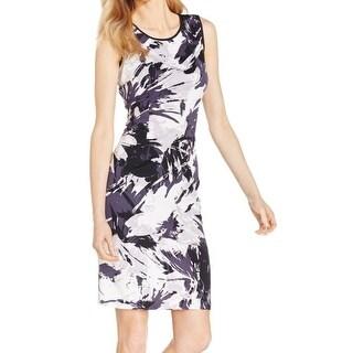 Nine West NEW Gray White Women's Size 6 Abstract Print Sheath Dress