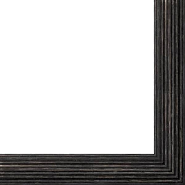 """Canvas Floater Frame Moulding (Wood) - Distressed/Aged Black Finish - 1.75"""" width - 1 5/8"""" rabbet depth"""
