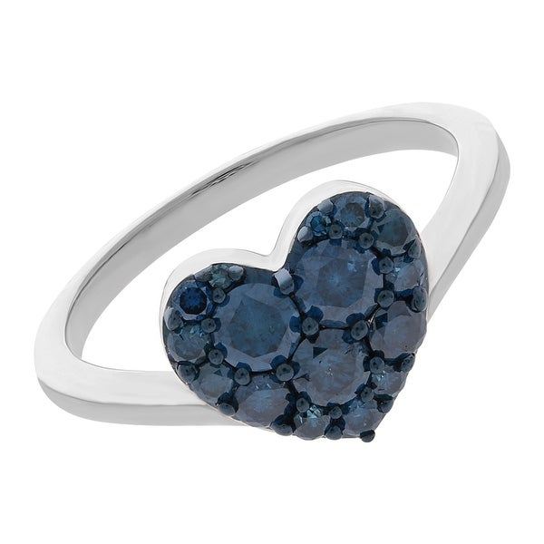 Prism Jewel 0.75Ct Round Blue Color Diamond Heart Shaped Valentine Ring