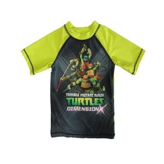 Nickelodeon Little Boys Black Green TMNT Print UPF 50+ Rash Guard