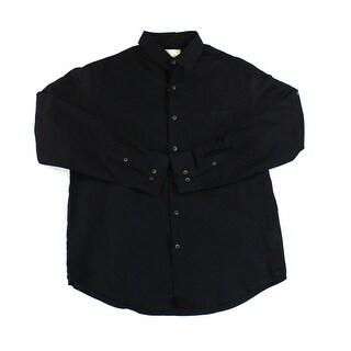 Tasso Elba NEW Deep Black Mens Size XL Button Roll-Tab Down Linen Shirt