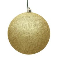 Vickerman  10 in. Gold Glitter Drilled Cap Christmas Ornament Ball
