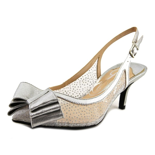J. Renee Vanna Women Pointed Toe Canvas Silver Slingback Heel