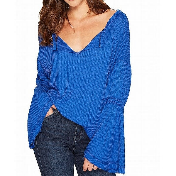 6245ca2609b Shop Free People Blue Women's Size Small S Dahlia Thermal Knit Top - On  Sale - Free Shipping On Orders Over $45 - Overstock - 26956448