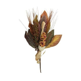 """16"""" Orange and Burgundy Indian Corn, Wild Berries and Leaves Autumn Pick"""