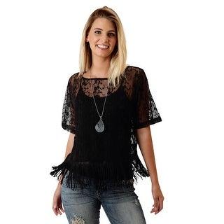 Roper Western Shirt Womens L/S Mesh Lace Black 03-038-0539-4024 BL - m