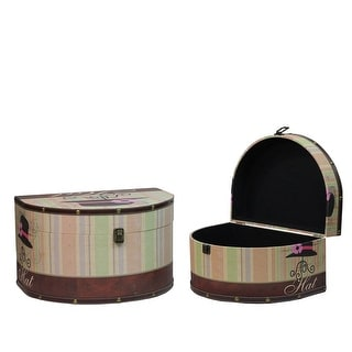 "Set of 2 Wooden Vintage-Style Decorative Hat Storage Boxes 16.75-20"" - N/A"