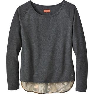 Legendary Whitetails Ladies Hide-n-Seek Raglan Long Sleeve Pullover - black heather