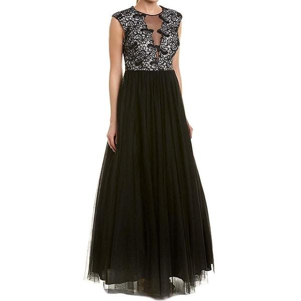 64c024c063729 Shop Aidan Mattox Black Womens Size 2 Floral Lace Tulle Mesh Gown ...