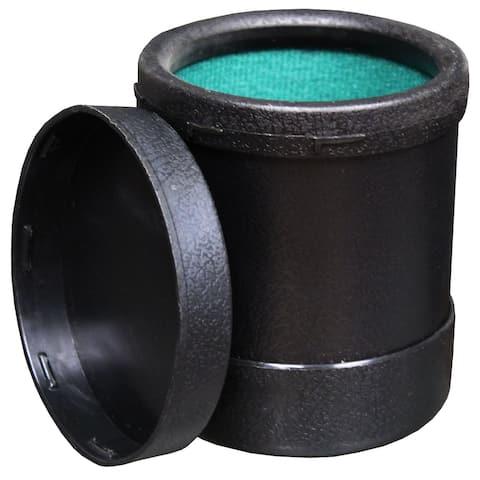 Black Plastic Dice Cup (Green Felt Lined Interior)