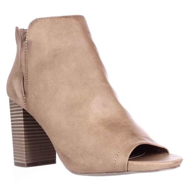 madden girl Fiizzle Peep Toe Ankle Booties, Cognac Paris - 8.5 us