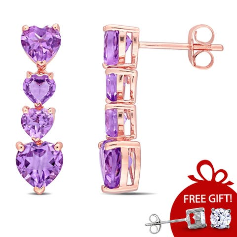 Miadora 10k Rose Gold Amethyst Graduated Heart Drop Earrings