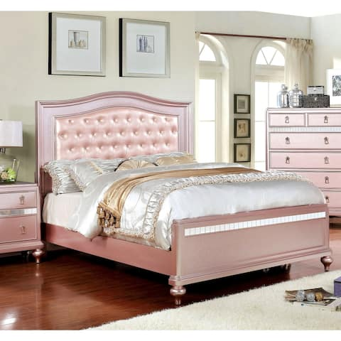 Silver Orchid Gibson Rose Gold Button Tufted Bed