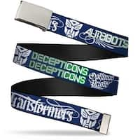 Blank Chrome  Buckle Transformers Autobots Decepticons Script Navy Web Belt - S