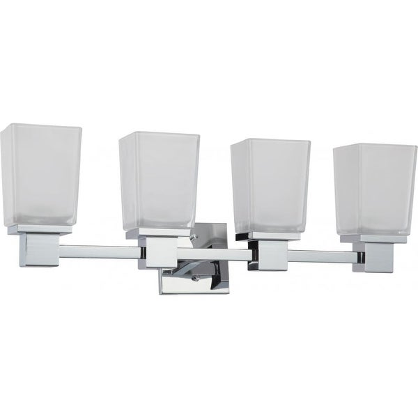 Nuvo Lighting 60/4004 Parker Four Light Bathroom Fixture with Sandstone Etched Glass - Polished chrome