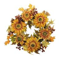 "24"" Autumn Harvest Sunflower Berry Wreath - Unlit - Orange"
