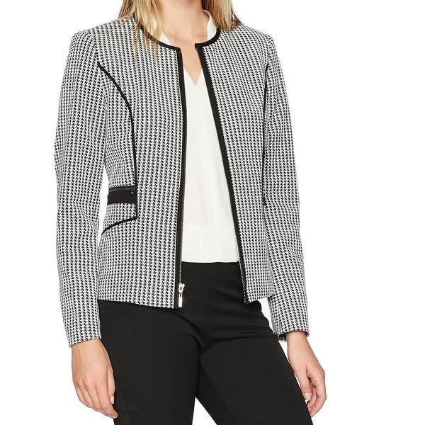 a6351ae59 Shop Kasper Black White Womens Size 8 Houndstooth Check Knit Jacket ...