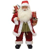 "24"" Modern Standing Santa Claus Christmas Figure with Presents and Drum - RED"