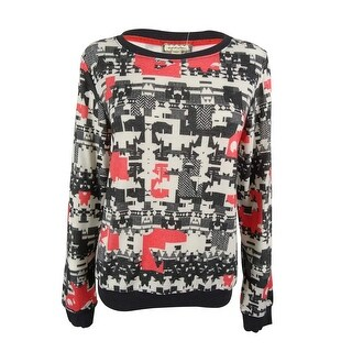 Eyeshadow Juniors' Printed Pullover Sweater - white/sea coral