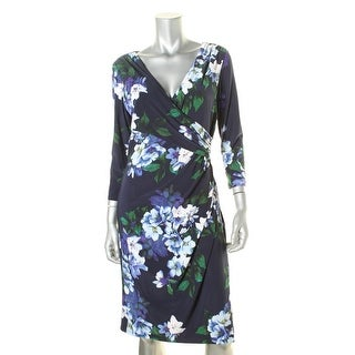 Lauren Ralph Lauren Womens Floral Print Faux Wrap Wear to Work Dress