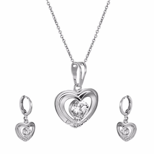 Womens Heart Shape Pendant Earrings Set Solitaire Simulated Diamonds Link Chain