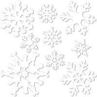 "Club Pack of 216 Snowflake Christmas Party Cutout Decorations 12"" - White"