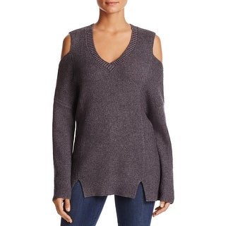 Lysse Womens Riley V-Neck Sweater Ribbed Knit Cold Shoulder