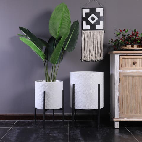 Two Piece White Metal Planters with Black Stand
