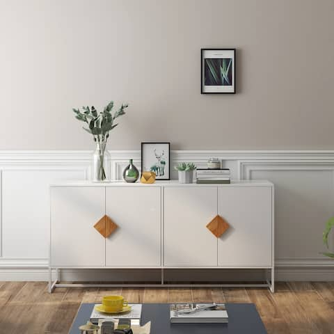 Modern Storage Sideboard with Solid Wood Special Shape Handle