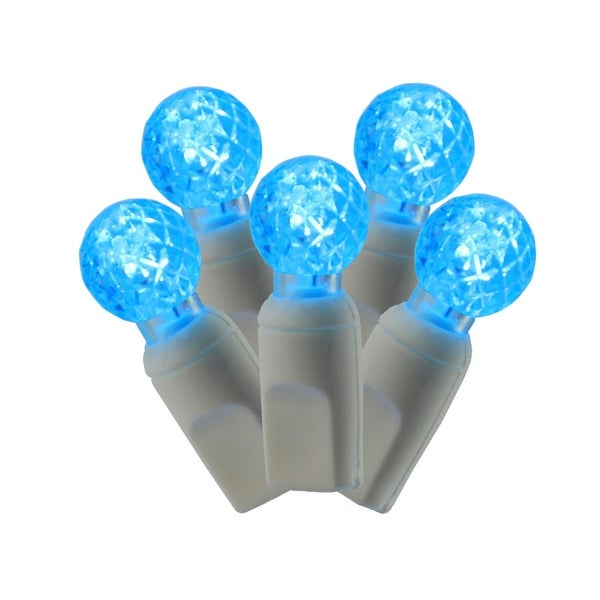 "Set of 100 Teal Commercial Grade LED G12 Berry Christmas Lights 4"" Spacing - White Wire - BLue"