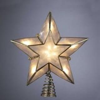 """6"""" Lighted Gold and Ivory Capiz Five-Point Star Christmas Tree Topper"""