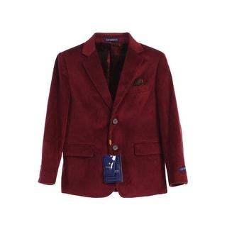 Little Boys Burgundy 2 Button Formal Velvet Blazer