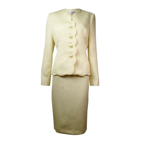 Le Suit Women's City Blooms Jacquard Scallop Skirt Suit
