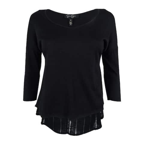 Jessica Simpson Women's 3/4 Sleeve Hi-Low Top - Black - XS