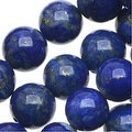 Natural Lapis Gemstone Beads, Round 6mm, 15.5 Inch Strand, Deep Blue - Thumbnail 0