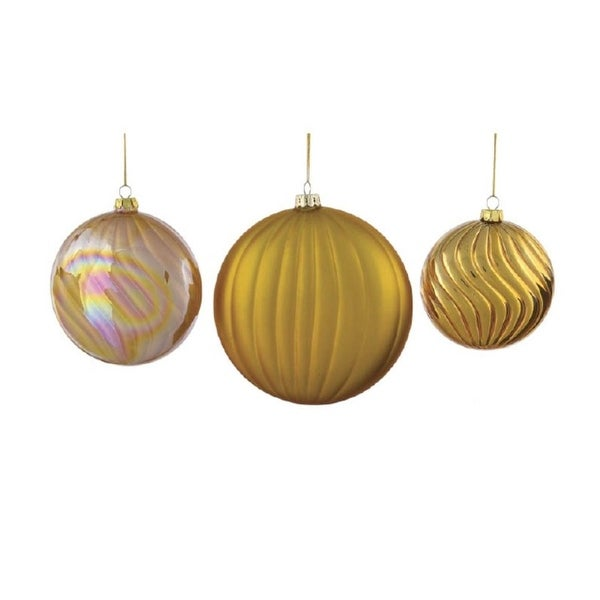 "9 Neutral Warmth Gold Round Glass Ball Christmas Ornaments 4"" - 6"""