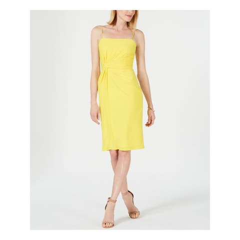 ADRIANNA PAPELL Yellow Spaghetti Strap Knee Length Dress 14