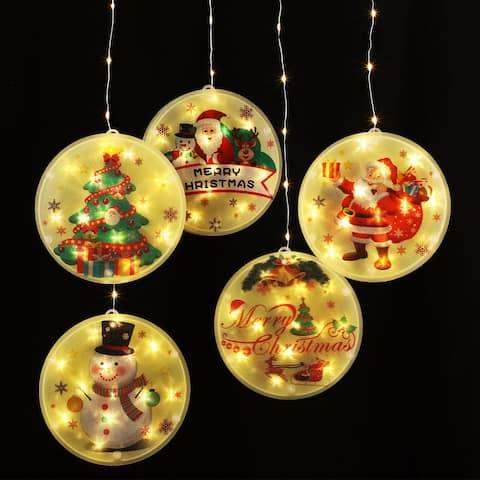Christmas String Lights, 3D Decorations Hanging Lights USB-powered, 5 LEDs, 2800K Soft White - 1Pack