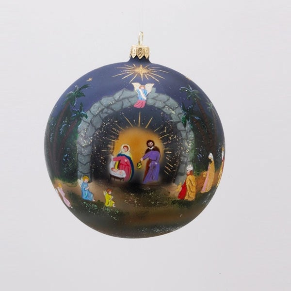David Strand Designs Glass Star of Bethlehem Christmas Ball Ornament 5""