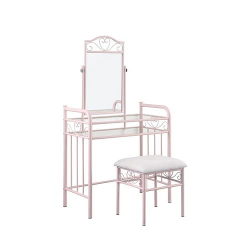Traditional Style Metal 2 Piece Vanity Set with Glass Top, Pink and Gray