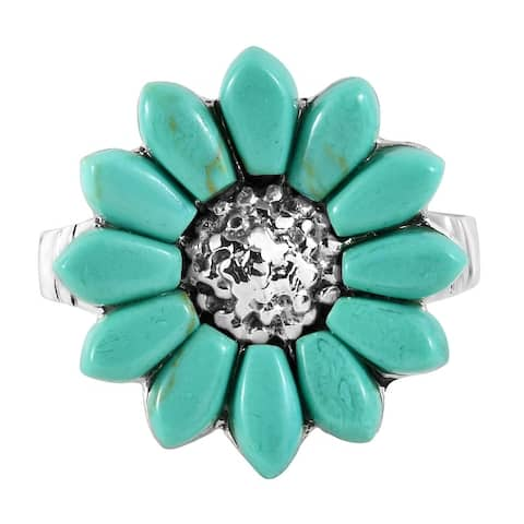 Handmade Tropical Sunflower Seashell Inlays Sterling Silver Ring (Thailand)