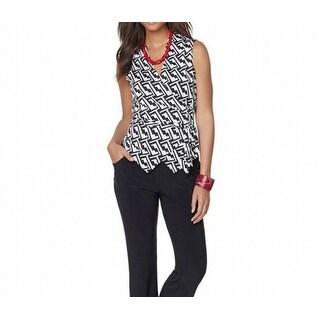 Nikki Poulous NEW Black Women Medium M Reversible Jersey Print Vest