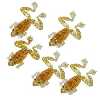 "Unique Bargains 5 Pcs 2.4"" Glitter Sequins Accent Frog Shaped Silicone Clear Red Gold Tone Fishing Lure Fish Bait 1.1oz"