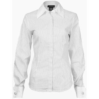 Sutton Studio Womens Cotton Blend Dobby Stripe Button Down Shirt Misses