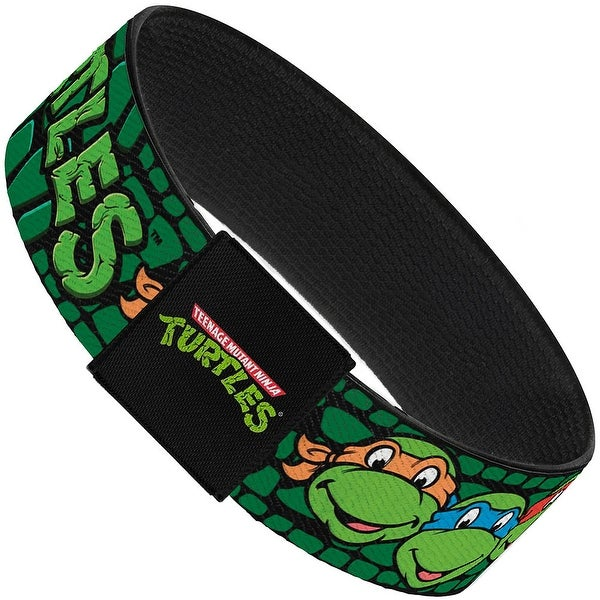 Classic Tmnt Group Faces Turtles Turtle Shell Black Green Elastic Bracelet